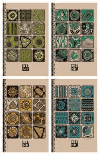 =Блокнот 7БЦ з обкладинкою Крафт, формат 143х197 мм, 80 аркушів, дизайн -1869-1872
