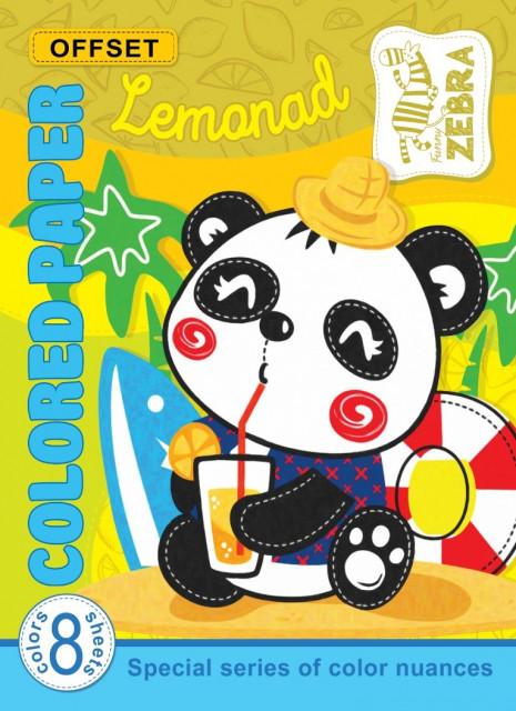 Набір Кольорового  паперу Офсетного Лимонад, формат 205х280 мм, 8 аркушів, обкладинка  Англійською  мовою, дизайн -17177-17178