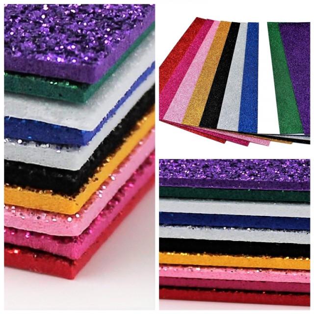 Набір кольорового ЕВА матеріалу (Фоаміран) з Гліттером ,  товщина  2,0 мм, розмір 210х297 мм, 5 аркушів, дизайн GL-EVA-015, Чорний