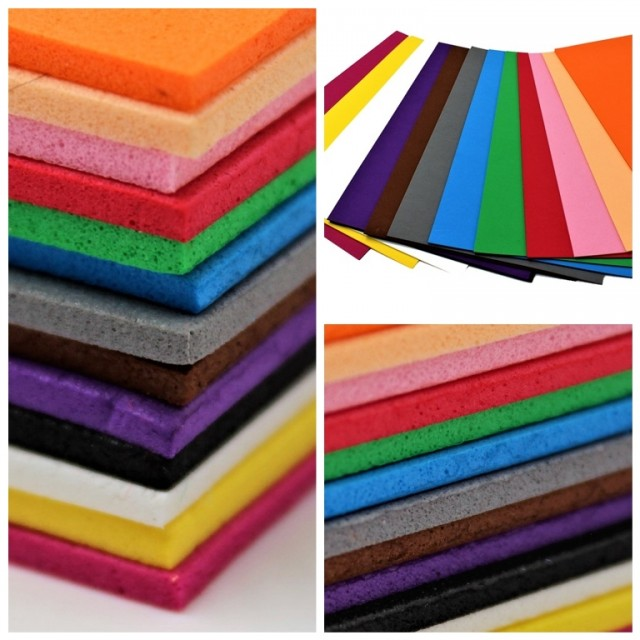 Набір кольорового ЕВА матеріалу (Фоаміран) товщина 2,0 мм, розмір 210х297 мм, 5 аркушів, дизайн EVA-007, Персиковий