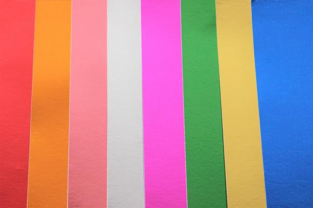 Набір кольорового  ПЕТ Паперу  фольгованого, одностороннього, 80 г / м2, 210х297 мм, 8 аркушів, 8 кольорів