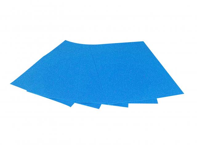 Набір кольорового ЕВА матеріалу (Фоаміран) з Глітером Пастель,  2,0 мм, розмір 210х297 мм, 5 аркушів, колір Блакитний