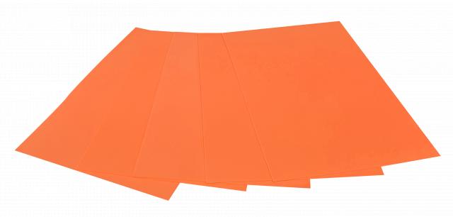 Набір кольорового ЕВА матеріалу (Фоаміран) Флуоресцентний,  2,0 мм, розмір 210х297 мм, 5 аркушів, колір Помаранчевий