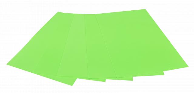 Набір кольорового ЕВА матеріалу (Фоаміран) Флуоресцентний,  2,0 мм, розмір 210х297 мм, 5 аркушів, колір Зелений