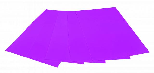Набір кольорового ЕВА матеріалу (Фоаміран) Флуоресцентний,  2,0 мм, розмір 210х297 мм, 5 аркушів, колір Фіолетовий