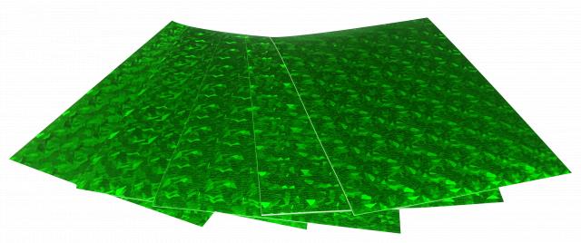 Набір кольорового ЕВА матеріалу (Фоаміран) Голографічний, 1,8 мм, розмір 210х297 мм, 5 аркушів, колір Зелений