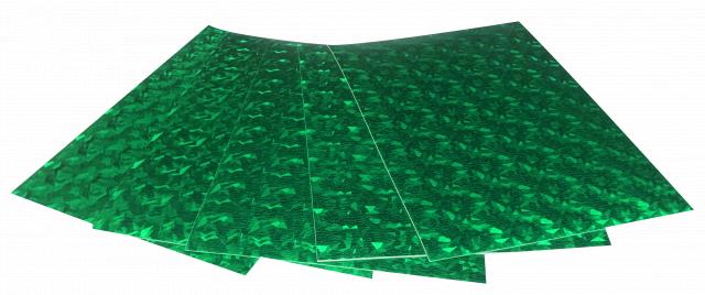 Набір кольорового ЕВА матеріалу (Фоаміран) Голографічний, 1,8 мм, розмір 210х297 мм, 5 аркушів, колір Темно-Зелений
