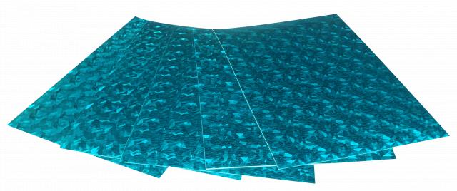 Набір кольорового ЕВА матеріалу (Фоаміран) Голографічний, 1,8 мм, розмір 210х297 мм, 5 аркушів, колір Світло-Блакитний
