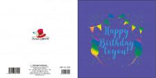 """Листівка Вітальна """"Ручна робота"""", розмір 155х155,  дизайн -ABF-19-1224 BLUE"""