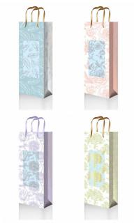 Пакет подарунковий паперовий, розмір - 11,5х37х8,5 см, дизайн -GB-20271-20274