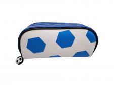 Пенал шкільний, 20х6х9 см, м'який з одним відділенням. Матеріал: поліуретан, Футбольний м'яч, дизайн - Wb-2085-синій