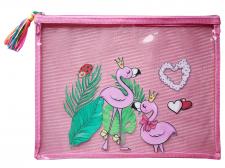 Папка шкільна, 34,5х26,5 см, формат А4 +, м'яка на блискавки на одне відділення.  Матеріал: поліуретан , дизайн - WB-2122- рожевий 3