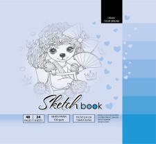 ч.а. Скетчбук 7БЦ, формат  (200х200 мм), 24 аркуша, дизайн-21400
