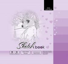 ч.а. Скетчбук 7БЦ, формат  (200х200 мм), 24 аркуша, дизайн-21402