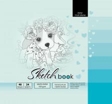 ч.а. Скетчбук 7БЦ, формат  (200х200 мм), 24 аркуша, дизайн-21408