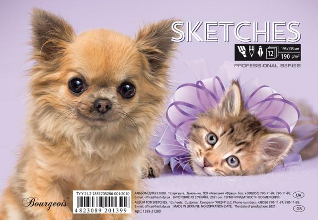 Альбом  для Ескізів, папір щільністю 190 г/м2, формат А5 ( 195х135 мм), 12 аркушів, на спіралі, дизайн -21279-21280