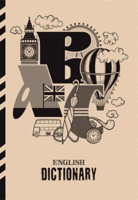 Зошит - Словник, 7БЦ, розмір 165х238 мм, 48 листів, обкладинка Крафт, Пантон чорний, дизайн - 19154-19157